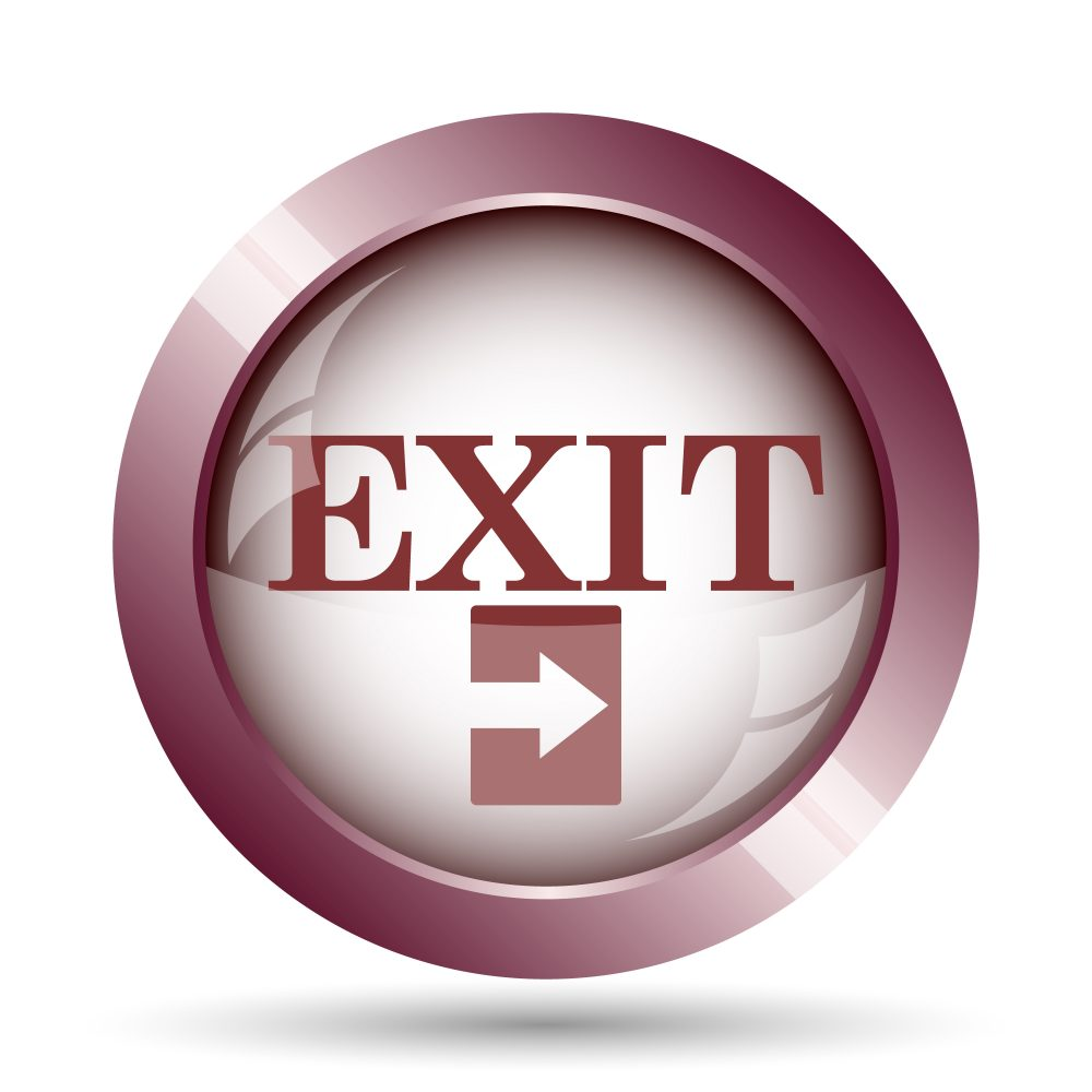 Exit icon. Internet button on white background.